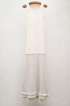 Beige Long Tank Dress by Hache