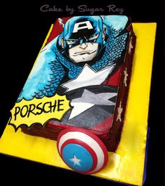 Captain America, leader of the Avengers and hero of the Marvel universe, is recognized simply by his notorious star studded shield. Captain America Party, Captain America Birthday, 3rd Birthday Cakes, Birthday Ideas, Happy Birthday, Superhero Cake, Cake Spiderman, Hand Painted Cakes, Book Cakes