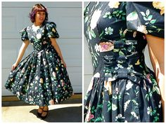 1950s Style Vintage Black Sock Hop Dress with by Enchantedfuture