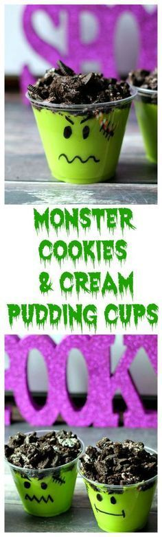 Check out my Spooky Lab Halloween Treats like these Monster Cookies & Cream Pudding Cups!  While there enter my #SpookySnackLabContest and you could win $500 #ad /oreo/