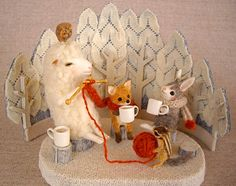 How cute is this!  Little sheep knitting with chipmunk holding the wool, while bunny and fox drink coffee.  Love it!  By Mamaru from Japan