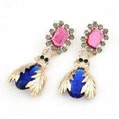 Metal exaggerated beetle gem temperament stud earrings