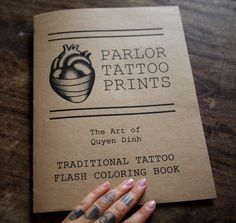 Traditional Tattoo Flash Adult Coloring Book! Each book is handmade to order with 20 original designs from the traditional/nautical collection.Cover is kraft colored paper, doubled up to be a cardstock. Inner pages are white 90lb construct...