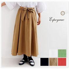 【espeyrac エスペラック】リボン ベルト 付き コットン ロング スカート (1713408)