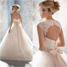 vestido de novia boda organza encaje elegante princesa