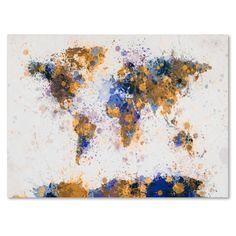 Michael Tompsett 'Paint Splashes World Map 2' Art