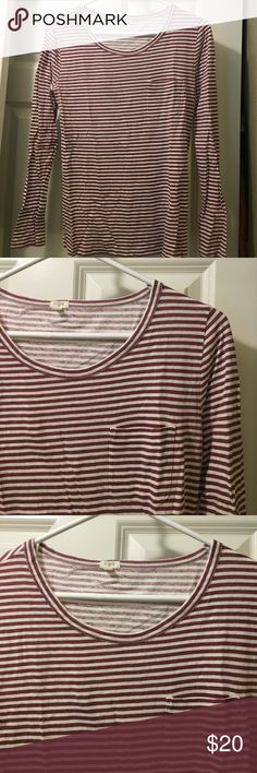 J crew berry and cream striped long sleeve Such a cute shirt! Striped are my favorite if you can see from my feed. In gray condition. No pilling. 100% cotton J. Crew Tops Tees - Long Sleeve
