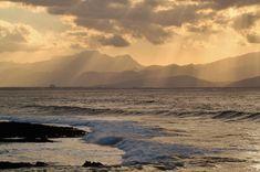 #beach #clouds #coast #mountains #nature #ocean #outdoors #sea #seascape #seashore #sky #sunrise #sunset #water #waves