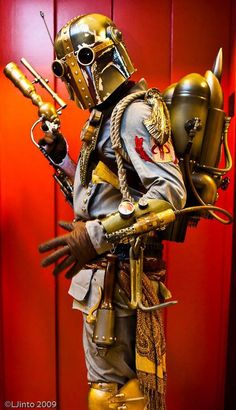 Steampunk Boba Fett rides his airship to find Han Solo. (LJinto via The World Of Steam)