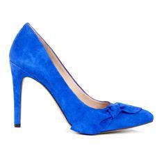 Suede bow pumps - Blue