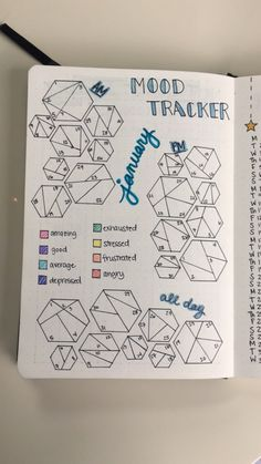 January 2018 Monthly Mood Tracker with morning, afternoon, and all day mood tracking