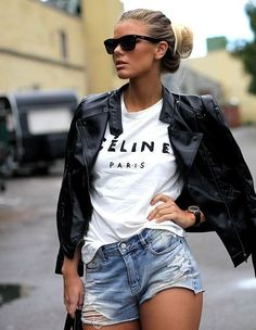 Effortless - Leather Jacket - Jean Cutoffs... - Total Street Style Looks And Fashion Outfit Ideas