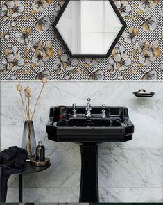 Continuing with 2020 trends - Get ready for black ceramics! It isnt just our bathroom walls that are turning to the. Bathroom Trends, Bathroom Renovations, Bathroom Ideas, Bathroom Mirrors, Bathroom Styling, Bathroom Interior Design, Burlington Bathroom, Next Bathroom, Bathing