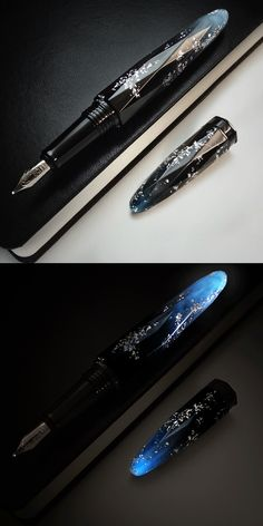 Fountain pen , BENU Briolette collection. The Luminous Blue fountain pen is glowing beautifully in a dark and semi-dark after an hour exposure to light. A sustained blue glow lasts for up to 12 hours, fading over time. The fluorescent luminous paints used in the pen are completely free from radioactivity and any potential hazards. Long facets covering the pen's body gives the pens specific shape that prevents it from rolling and enables the true color and brilliance of the material to…