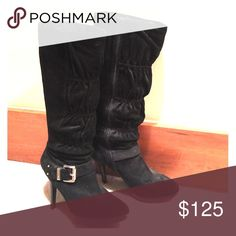 Michael Kors Knee-high suede Black Boots Side zipper, side buckle accent; right boot has a blemish on sole; easy touch up needed Michael Kors Shoes Heeled Boots