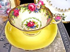 Paragon tea cup and saucer TAPESTRY ROSE YELLOW pattern teacup wide mouth