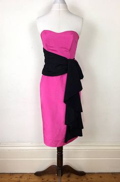 1d7c1017014c8 Vintage 1980s ILGWU Bright pink and black taffeta prom wiggle dress by  Nadine