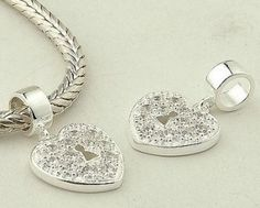 Sterling Silver Pendant Love Heart White Crystal Charms - Pendant Charms - Charms - LYDIA JEWELLERY