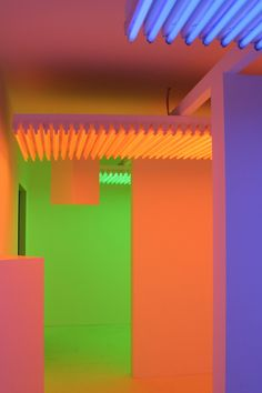 'Chromosaturation', 1965-2012 by Carlos Cruz-Diez. Site-specific environment composed of fluorescent lights with blue, red and green filters.