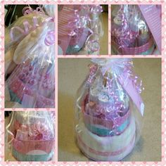 3-tier #babygirl #diapercake for a new mommy-to-be..#pink #babyshower #ideas #peekaboo