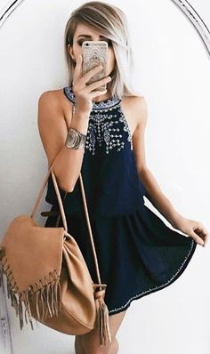 #summer #feminine #fashion  #outfitideas |  Black Halter Dress