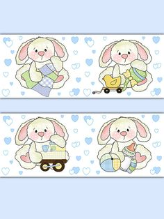 Bunny Rabbit Wallpaper Border Wall Art Decals boys woodland forest friends animal baby nursery decor. Four different baby boy bunnies in a row. Soft pastel colors #decampstudios