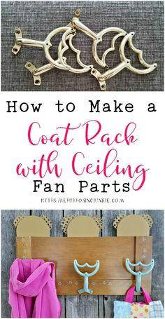 How to Repurpose Ceiling Fan Parts into a Coat Garment Rack - Repurposing Junkie Painted Fan Blades, Fan Blade Art, Ceiling Fan Parts, Decorative Ceiling Fans, Repurposed Items, Repurposed Furniture, Refurbished Furniture, Old Fan, Garment Racks