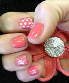 Coral Nails - Glitter Nails - Polka Dot Nails  Nails by Amanda Goddard at Salon Brands Wichita KS