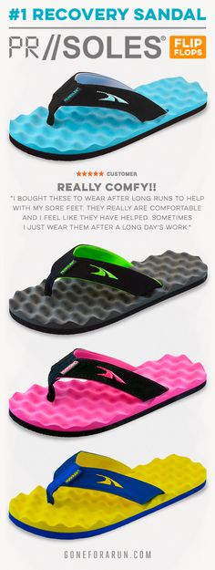 So Comfy!! PR SOLES® are specifically designed to provide runners the most comfortable footwear before or after a run and to promote recovery of sore and tired feet.
