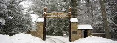 The T. Dawson Brown Gateway in winter at Camp ‪#‎Yawgoog‬.  A Facebook cover photo by David R. Brierley