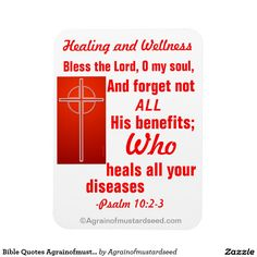 """Healing and Wellness """"Bless the Lord oh my soul"""" Bible Quotes Magnet"""