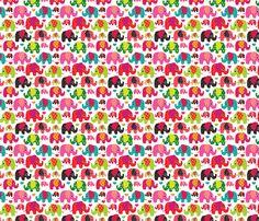 Cute retro kids elephant pattern fabric fabric by littlesmilemakers on Spoonflower - custom fabric