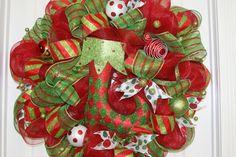 Mesh Wreaths | Christmas Deco Mesh Wreath by Cindywdesigns on Etsy