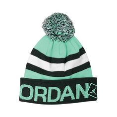 Jordan Go Two Three Pom Beanie ($22) ❤ liked on Polyvore featuring accessories, hats, beanie cap, embroidery hats, striped beanie, striped beanie hat and pom pom beanie