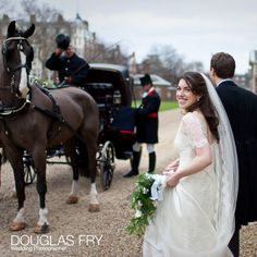 Horse drawn carriage at Royal Hospital and Chelsea to take the couple to the Caledonian Club