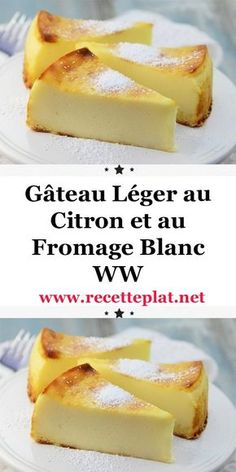 Here is the recipe for the WW light lemon and cottage cheese cake, a good light cake, soft as desired and flavored with lemon, easy and simple to make for dessert or a light snack at home. Diabetic Desserts, Köstliche Desserts, Diabetic Recipes, Delicious Desserts, Cooking Recipes, Cake Recipes, Dessert Recipes, Light Cakes, Light Recipes