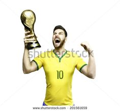 Brazilian soccer player celebrates the championship holding a trophy on white background