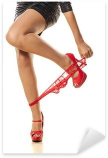 pretty girl undressing her red panties on white background Pixerstick Sticker