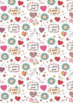 Valentines Day scrapbook paper - I Love You white