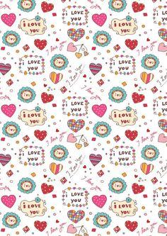 Valentines Day scrapbook paper - I Love You white