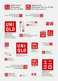 Sometimes a brand identity must be adapted for different languages and cultures (in this case, Uniqlo). Typography Logo, Typography Design, Logo Branding, Lettering, Brand Identity Design, Branding Design, Crea Design, Inspiration Logo Design, Brand Book