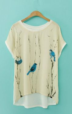 Blue birds on bare branches, loving the contrast. Can be found at: http://www.6ks.com/birds-printing-high-low-hem-casual-t-shirt_d11072.html