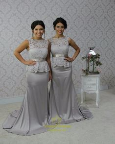 vampal.co.uk Offers High Quality Grey Lace Bodice Peplum Sheath Floor Length Bridesmaid Dress With Bow,Priced At Only USD $157.00 (Free Shipping)