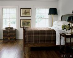 Badgely Mischka Bedroom via Elle Decor-LOVE this simplistic look with the plaid.this will be my bedroom Plaid Bedroom, Home Bedroom, Bedroom Decor, Plaid Bedding, Winter Bedroom, Bedroom Ideas, Preppy Bedroom, Bedroom Simple, White Bedding