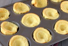 The pancake cups deflate after coming out of the oven.