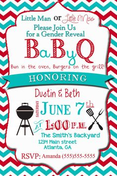 Gender Reveal Party Invitation Baby Reveal by SweetSimplySouthern, $15.00