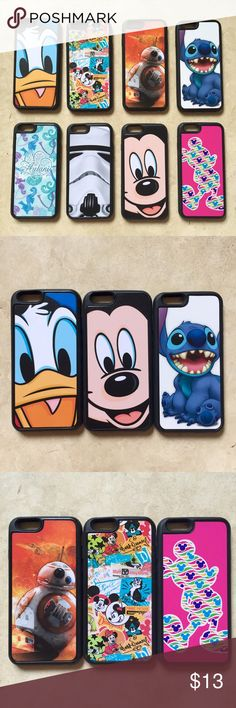 Disney iPhone Cases Official Disney D-Tech iPhone 6 cases! All brand new & never used. The back is hard plastic and the sides are strong rubber. These retail for $35 at Disney. Stitch, Donald Duck, Mickey Mouse, BB-8, Star Wars, Stormtrooper, Aulani Hawaii D-Tech Accessories Phone Cases