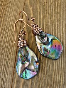 Abalone pearl drops with copper wire wrapping earrings. Purple, blue, shell, pearl handmade jewelry. - Andria Bieber Designs, Earrings - Jewelry, McKee Jewelry Designs - Andria Bieber Designs