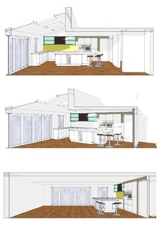 Domestic Kitchen | Family Rm | Open Plan | SketchUp Illustrations