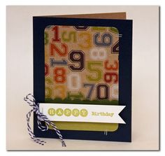 Happy Birthday card by Summer Fullerton using Jillibean Soup's Game Day Chili paper, baker'st twine, and Typography stamps (via the Jillibean Soup blog).